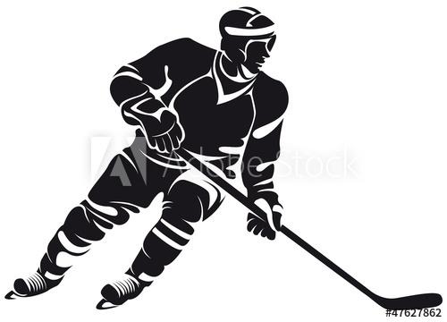 500x360 Hockey Player, Silhouette