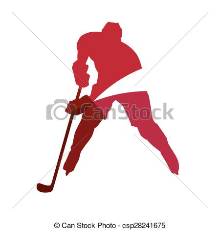 450x470 Abstract Red Ice Hockey Player Geometric Silhouette Vectors