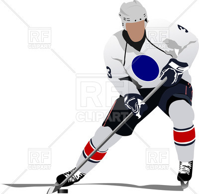 400x390 Ice Hockey Player In Action Royalty Free Vector Clip Art Image
