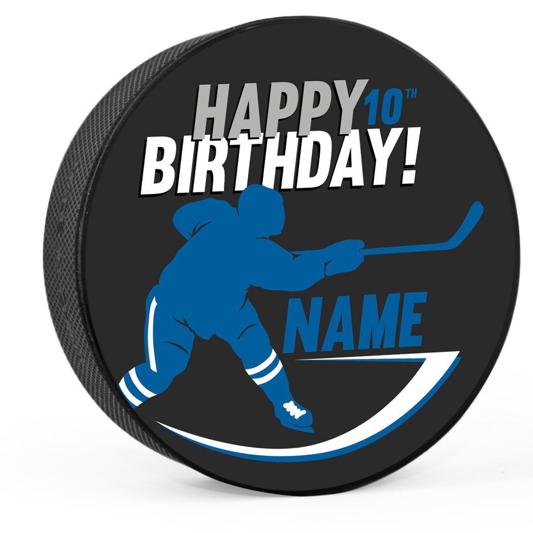 1050x1050 Personalized Happy Birthday Player Silhouette Hockey Puck Custom