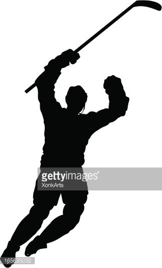 322x532 Silhouette Of A Hockey Player Celebrating After A Goal. Simple