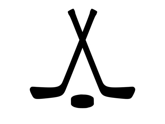 570x427 Crossed Hockey Sticks Amp Hockey Puck Decal Outdoor Vinyl Custom