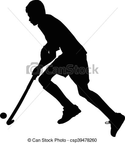 411x470 Silhouette Of Boy Hockey Player Running With Ball. Black