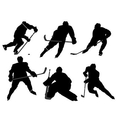 380x400 Ice Hockey Player Silhouette Vector On Vectorstock Silhouette