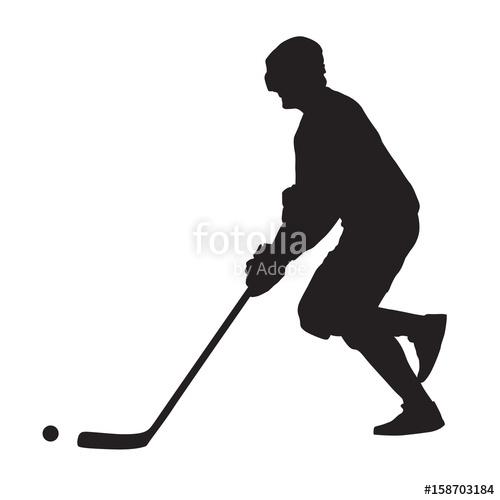 500x500 Running Ball Hockey Player, Summer Hockey, Vector Silhouette