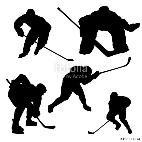 500x500 Black Hockey Player Silhouette On White Background Stock Image