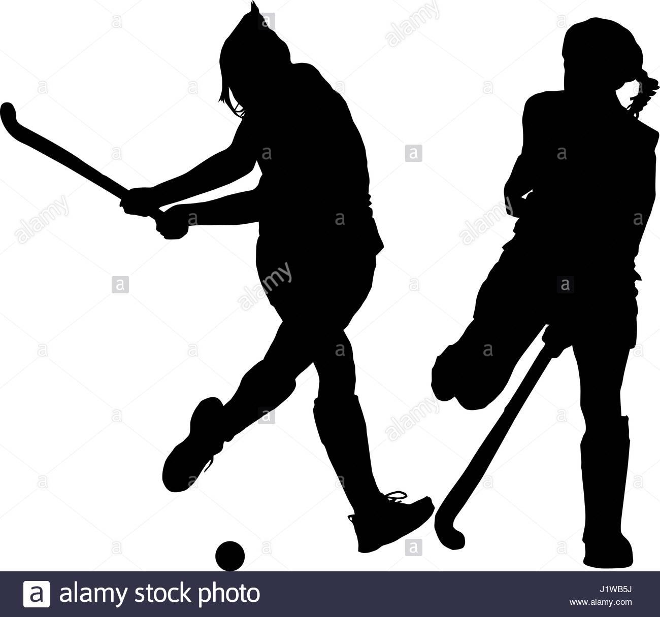 1300x1216 Black On White Silhouette Of Girls Ladies Hockey Players Hitting