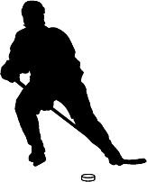 163x202 6 Printed Color Hockey Player Slapshot Leaning