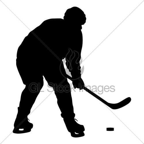 500x500 Silhouette Of Hockey Player. Isolated On White Gl Stock Images