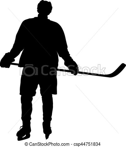 402x470 Silhouette Of Hockey Player. Isolated On White. Vector Vectors
