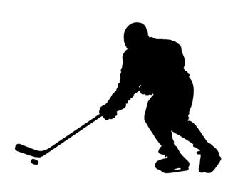 320x275 Hockey Player Silhouette Decal Sticker