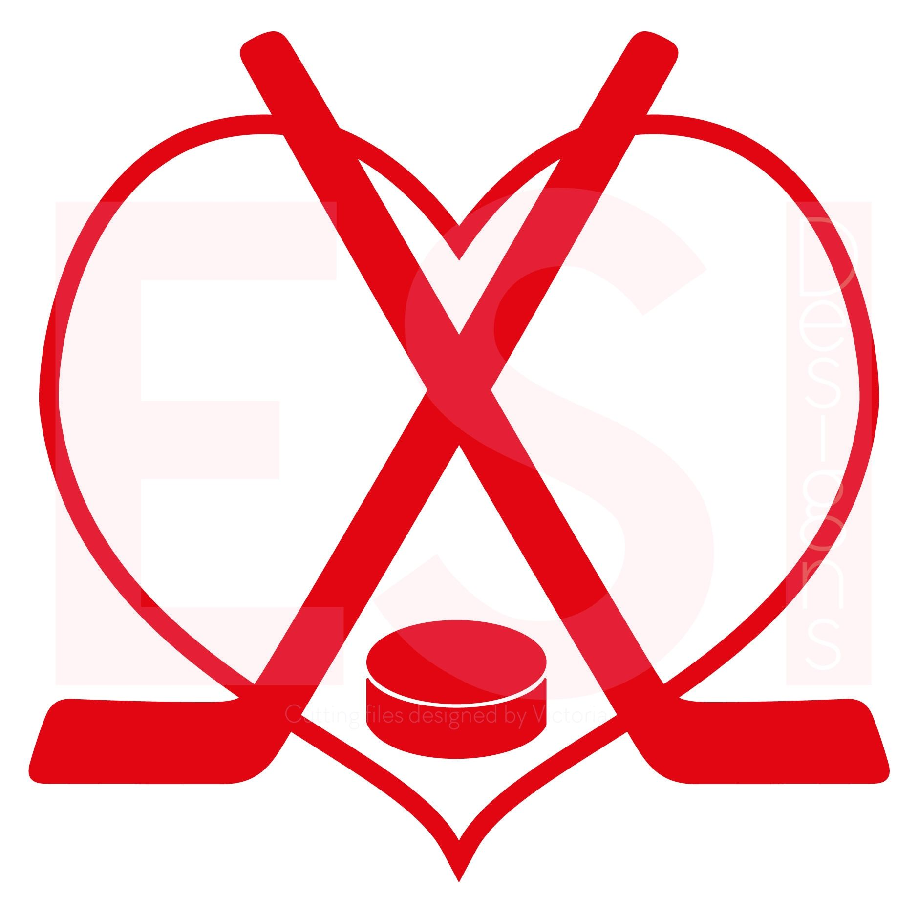 1879x1879 Hockey Sticks, Puck With Heart. Digital Cutting Files