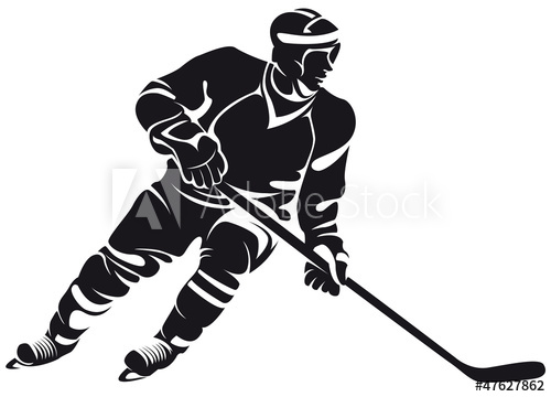 500x360 Hockey Player, Silhouette