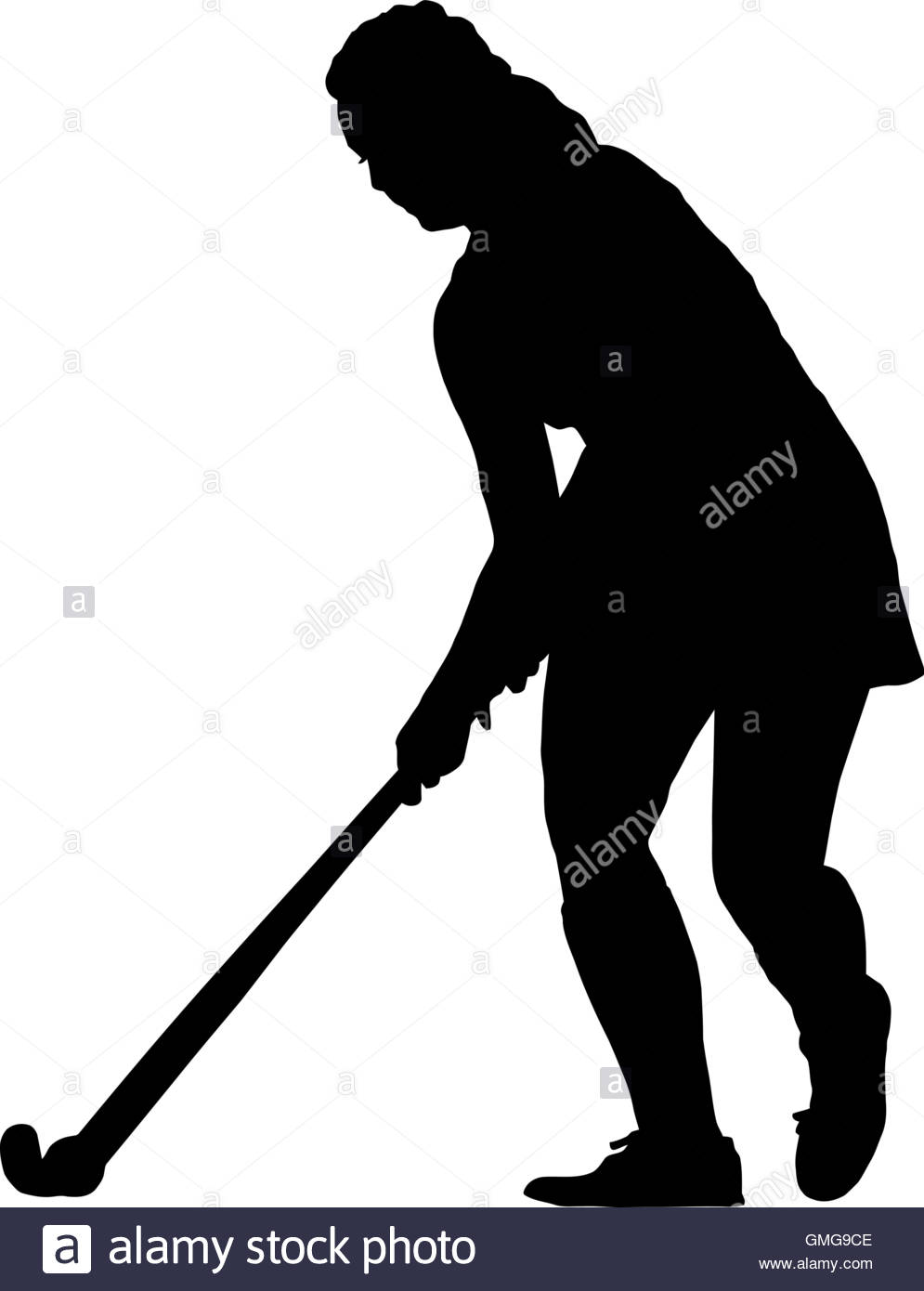 995x1390 Black On White Silhouette Of Standing Girl Ladies Hockey Player