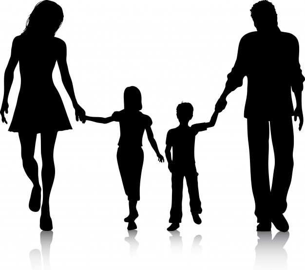 626x553 Silhouette Of A Family Walking Hand In Hand Vector Free Download