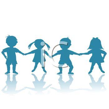350x350 Preschoolers Holding Hands Silhouette
