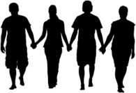 195x134 Silhouette Friends Holding Hands Jumping Premium Clipart