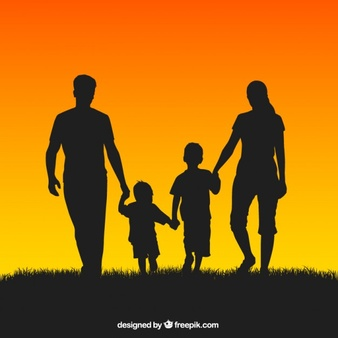 338x338 Children Holding Hands Silhouette Color Clipart