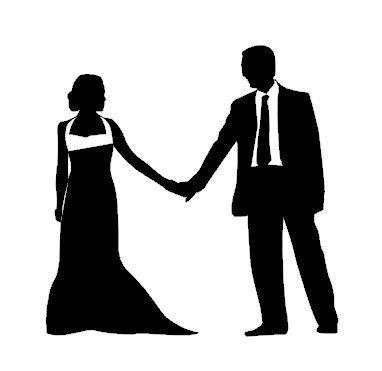 382x371 Bride And Groom Holding Hands Vinyl Decal Wedding Decor Window