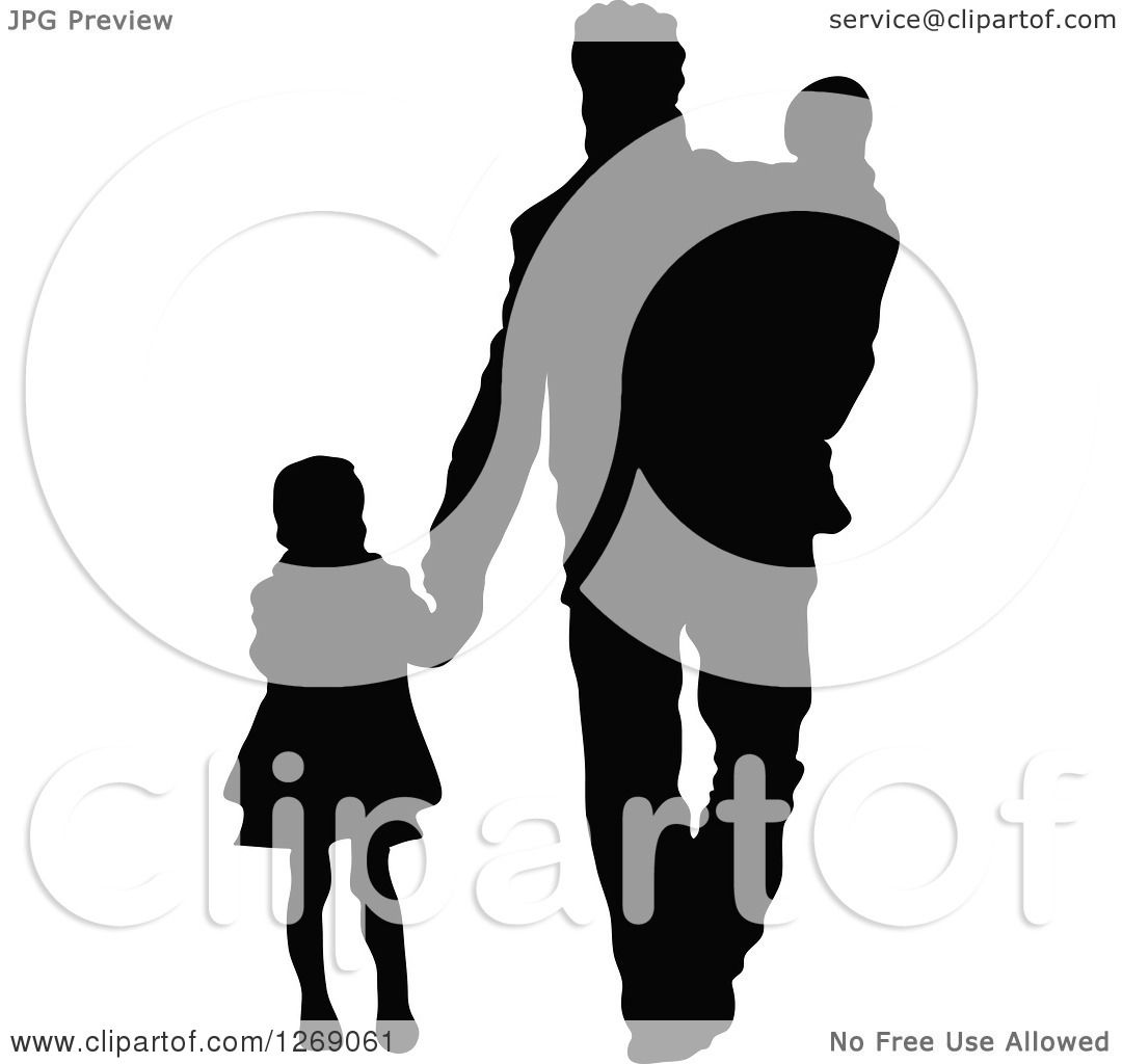 1080x1024 Clipart Of A Black Silhouette Of A Daughter Holding Hands