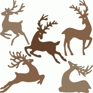 300x300 Reindeer Family Silhouette Design, Silhouette And Shop