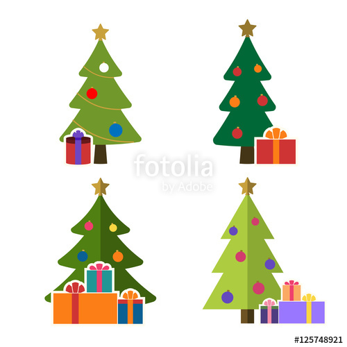 500x500 Christmas Tree Cartoon Icons Set. Green Flat Silhouette Decoration
