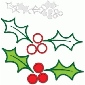 300x300 Outline Christmas Holly Silhouette Design, Outlines And Silhouette