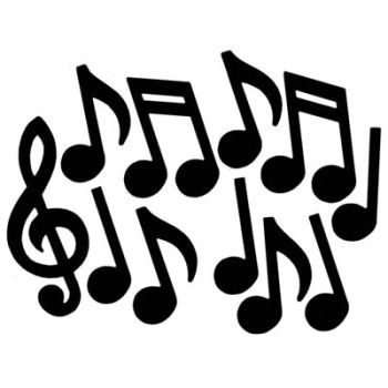350x350 Musical Notes Silhouette Cutouts Musical