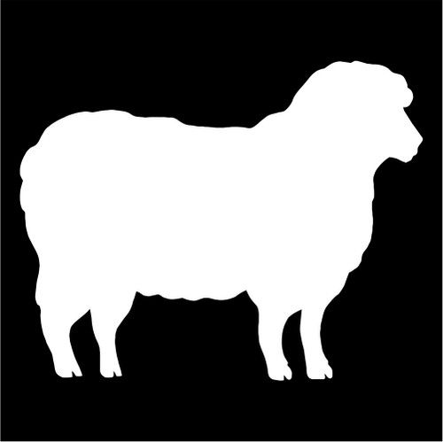 500x499 Sheep Silhouette Die Cut Vinyl Decal Sticker