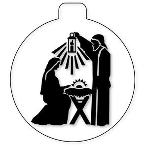 300x300 Silhouette Design Store Nativity Glass Ball With Holy Family