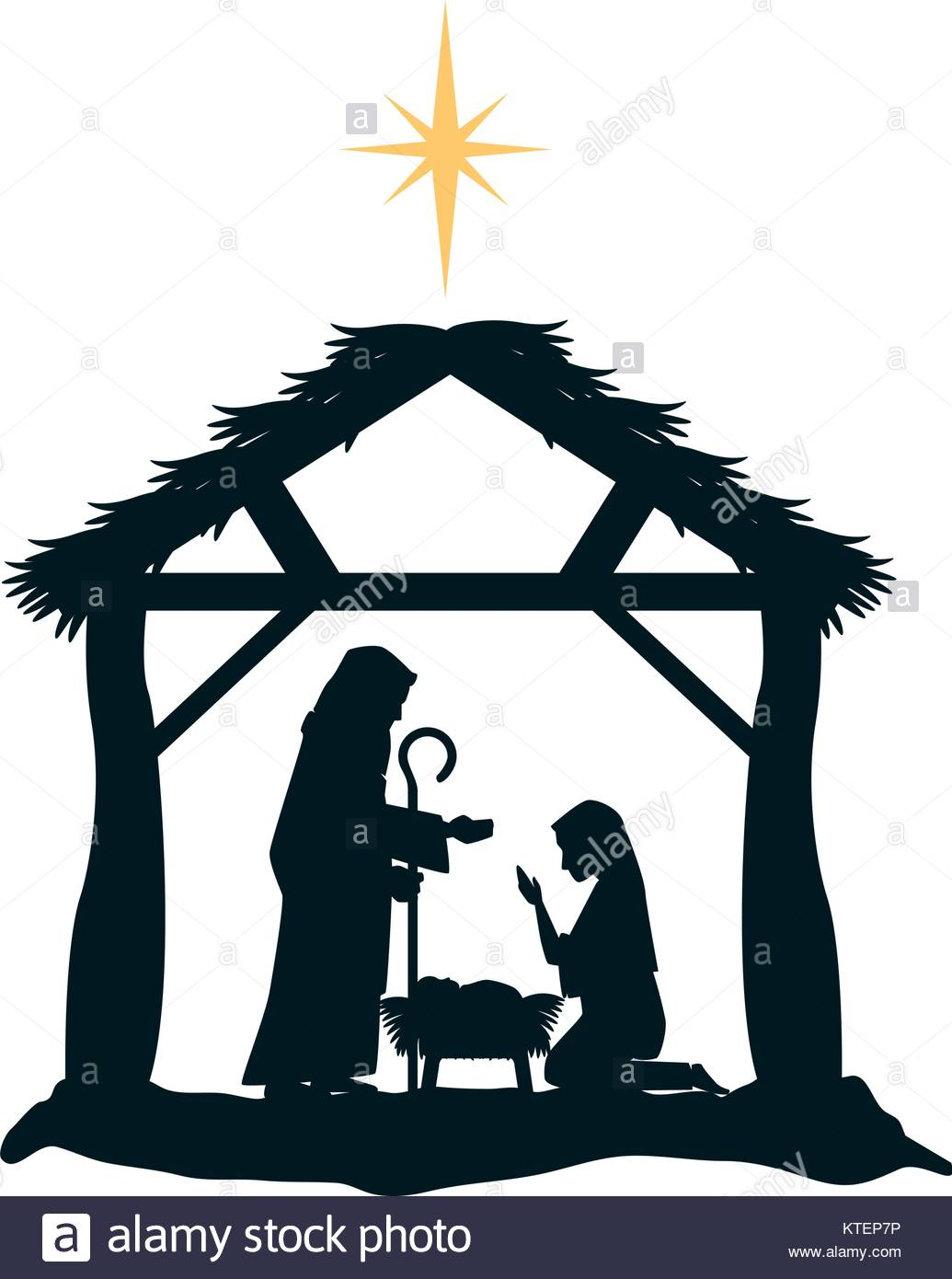 1035x1390 Holy Family Silhouette In Stable Christmas Characters Vector Stock