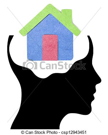 374x470 A Concept For Dream Home, Where Thinking Head Silhouette Is