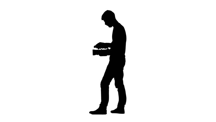 852x480 Job Operator With A Video Camera. White Background. Silhouette