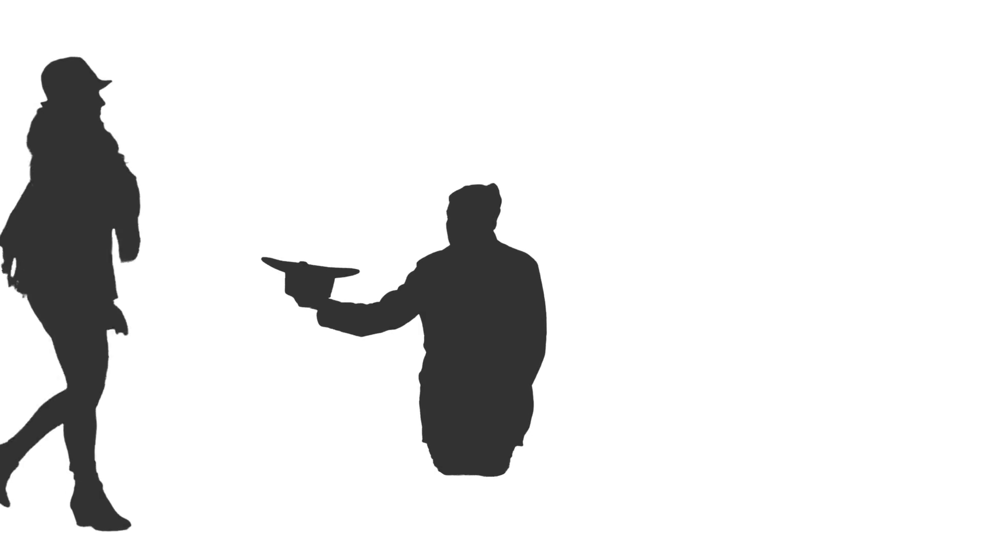 1920x1080 Silhouette Of Walking People And Homeless Man Begging On