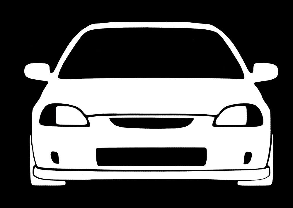1000x708 Honda Civic Jdm 6th Generation White Vinyl Decal Sticker