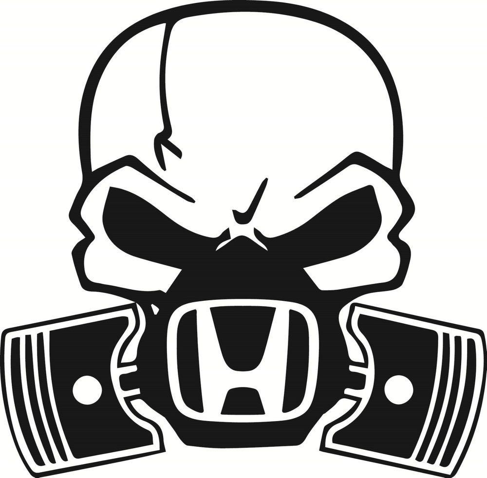 1000x982 Skull Piston Gas Mask Decal Sticker Car Honda Civic Jdm Drift Hoon