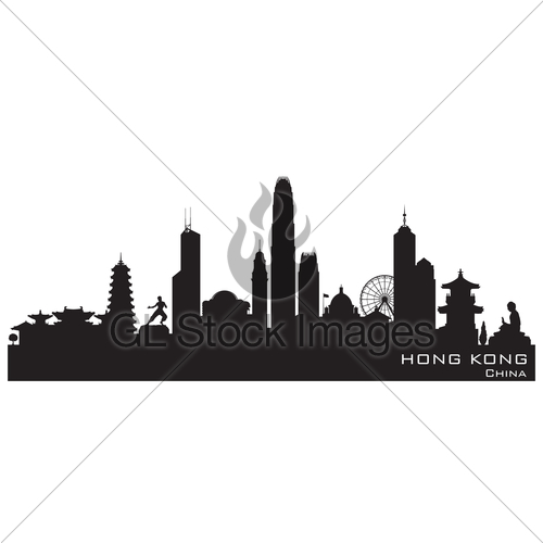 500x500 Hong Kong China City Skyline Vector Silhouette Gl Stock Images