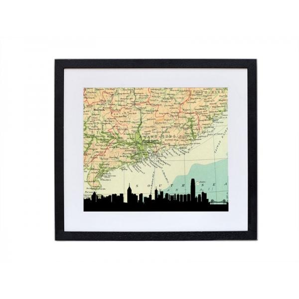600x600 Hong Kong Skyline Silhouette Print