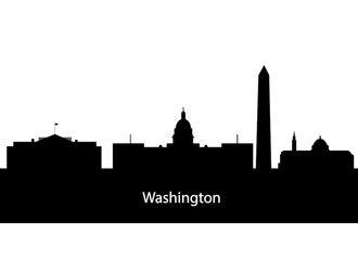 330x240 Washington Dc City Skyline Silhouette. Vector Illustration