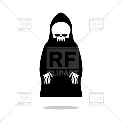 400x400 Grim Reaper In Black Hood Royalty Free Vector Clip Art Image
