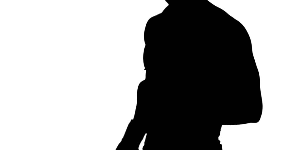 910x480 Muscular Silhouette Of Man Wearing Hood Boxing On White Background
