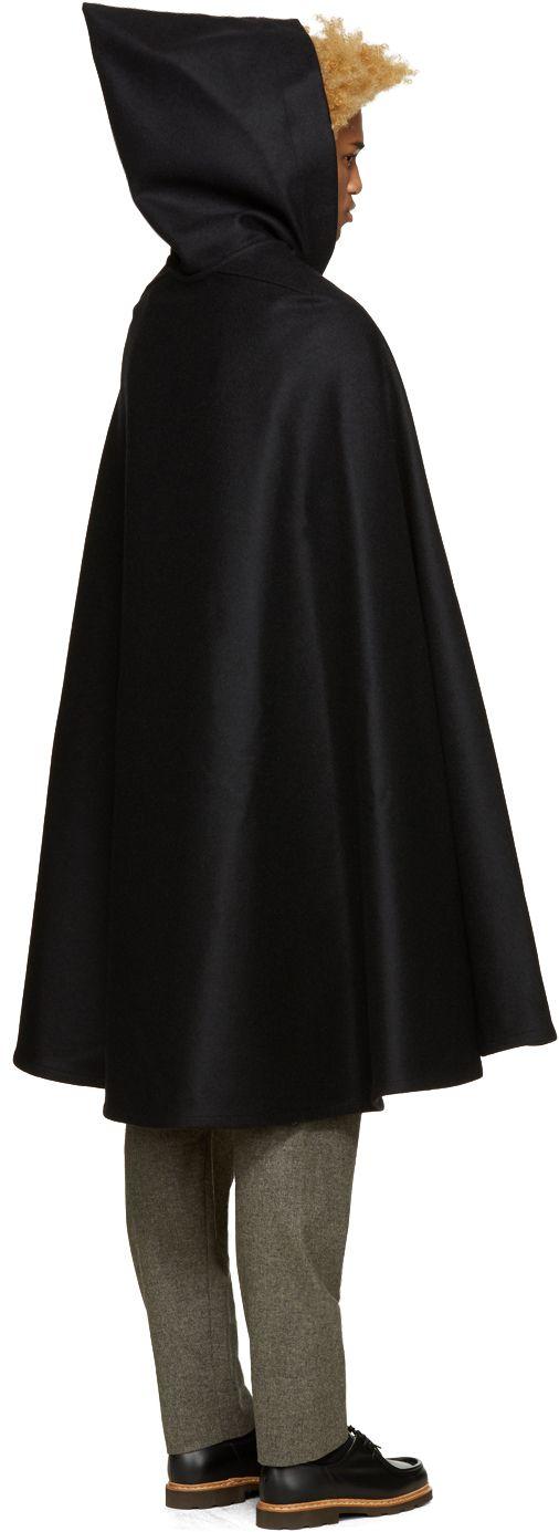 506x1385 Sleeveless Wool Hooded Cape In Black. Slip On. Full Circle