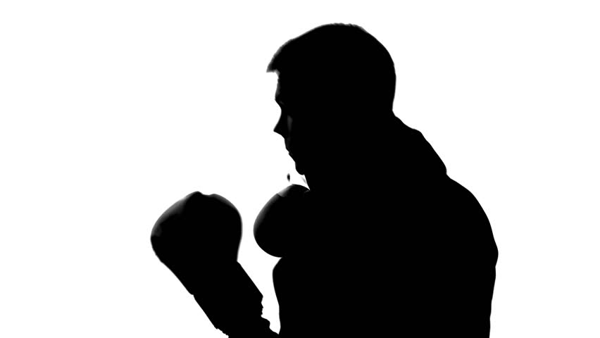 852x480 Dark Male Silhouette In Hood Attacking Opponent, Shadow Boxing
