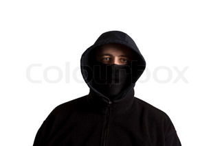 320x213 Hooded Man Next To Arched Recess Of Rural Ruin Stock Photo
