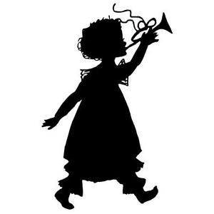 300x300 Girl With Horn Silhouette Unmounted Rubber Stamp, Lg. Music