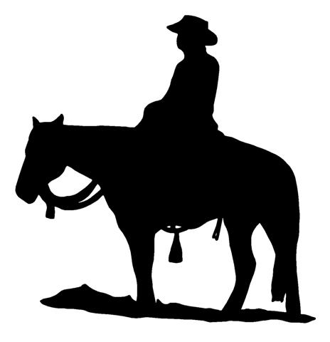 464x480 Cowboy On Horseback Silhouette Decal Sticker