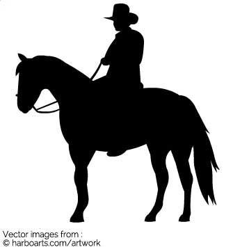335x355 Download Cowboy On Horse Silhouette