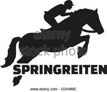 373x320 Horse With Rider Jumping, Word Show Jumping German Stock Vector