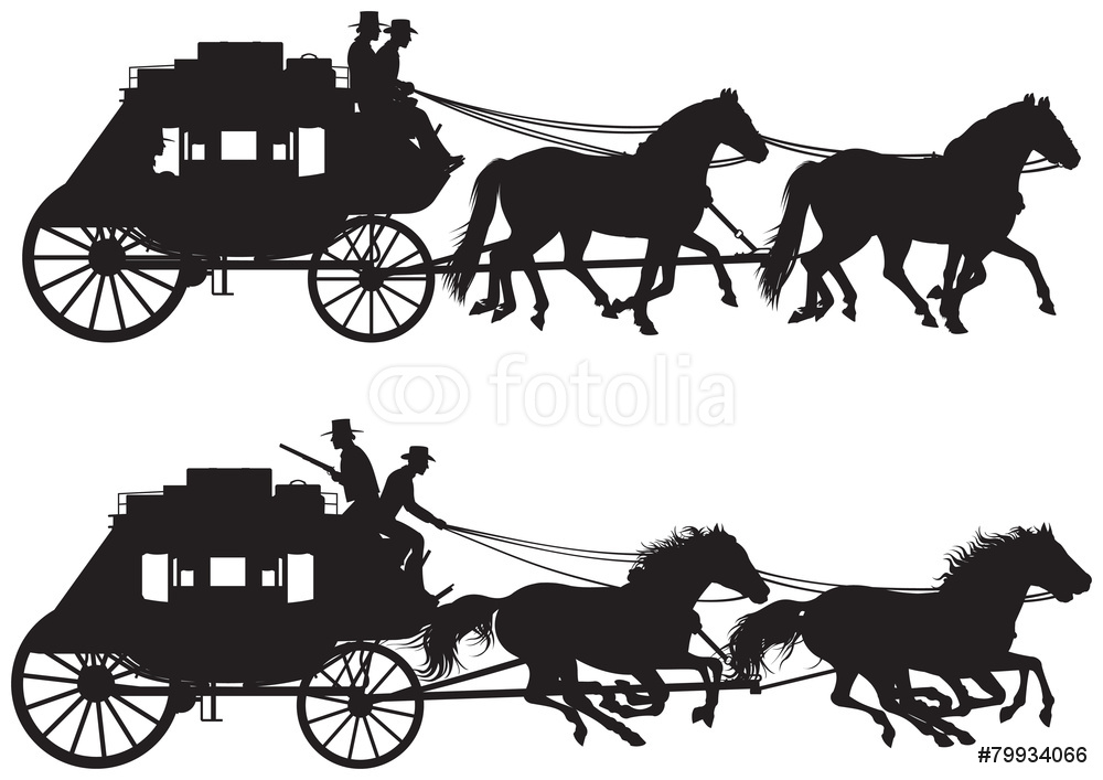 1000x707 Stagecoach Silhouettes Wall Sticker Wall Stickers