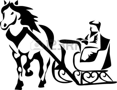 450x347 Horse And Sleigh Silhouette Clipart